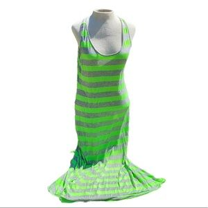Chesley, maxi dress,neon green/gray stripes,large